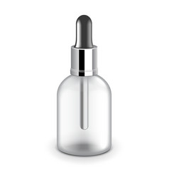 Cosmetic plastic bottle with dropper vector image