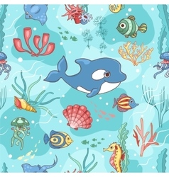 Seamless pattern with killer whale vector image vector image