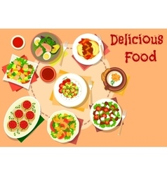 Snack salad dishes icon for healthy food design vector image vector image