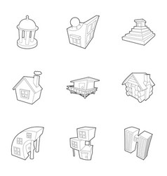 big city icons set outline style vector image