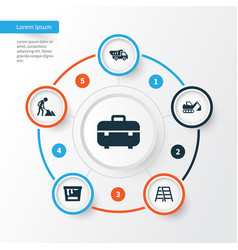 construction icons set collection of truck vector image
