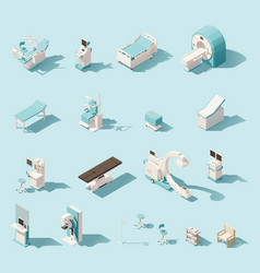 Isometric low poly medical equipment set vector