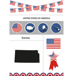 Map of kansas set of flat design icons vector