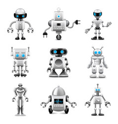 robots icons set vector image vector image