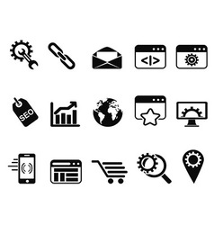 SEO Services icons set vector image