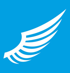 wing icon white vector image vector image