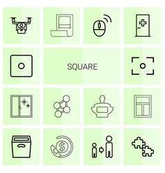14 square icons vector