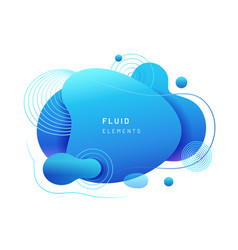 Abstract blue fluid blob in 3d shape vector