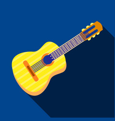 acoustic guitar icon flat style vector image