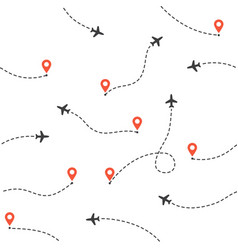 airplane routes pattern travel and tourism vector image