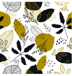autumn leaves seamless pattern fall vector image