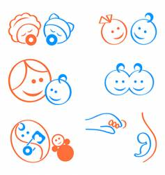 babies logo elements vector image