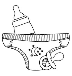 Babottle milk with pacifier and diaper vector