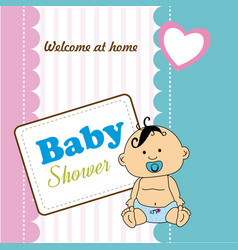 baby shower design over colorful background vector image