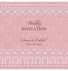 Baroque wedding invitation pink vector