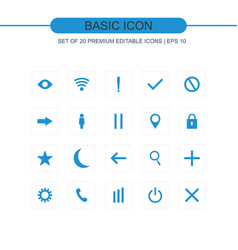 basic icons set vector image