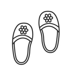 Bedroom slippers linear icon vector