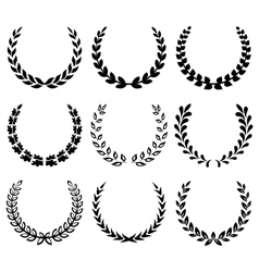 Black laurel wreaths 1 vector image