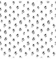 brush black simple flowers seamless pattern vector image