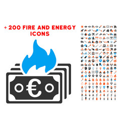burn euro banknotes icon with bonus flame clipart vector image