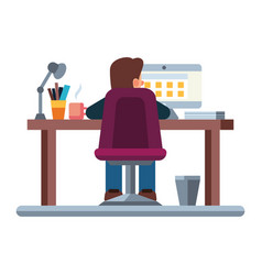 business man at his desk is working on the laptop vector image