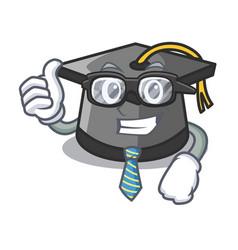 businessman graduation hat character cartoon vector image