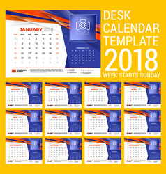 calendar set for 2018 year design template with vector image