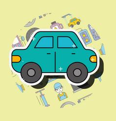 Car sedan cartoon side view service repair vector