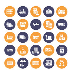 cargo transportation flat glyph icons trucking vector image