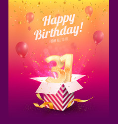 Celebrating 31 st years birthday vector