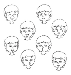 Child face emotion gestures black and white set vector