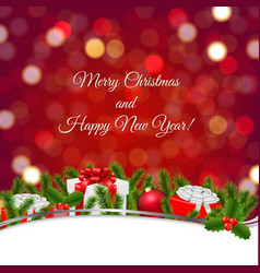 Christmas banner with bokeh and firtree frame vector