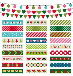 Christmas decoration and washi tapes set vector image