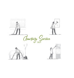 cleaning service - washing floor mirrors vector image