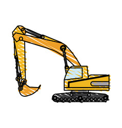 color crayon stripe construction heavy machine vector image