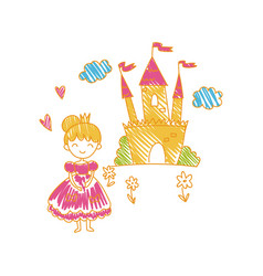 colorful childish drawing of castle and princess vector image