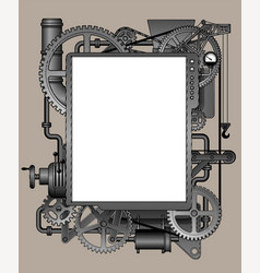 complex iron fantastic machine-shaped frame vector image