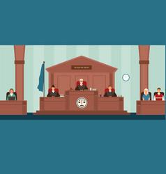 courtroom with panel judges sitting behind desk vector image