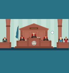 Courtroom with panel of judges sitting behind desk vector