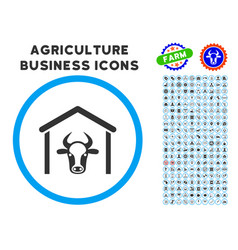 Cow garage rounded icon with set vector