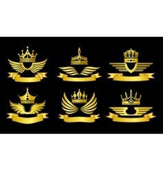 Crowns and ribbons emblems vector image