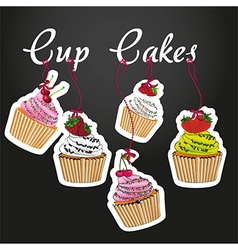Cupcakes pendant on black background with five sty vector