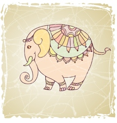 Decorative vintage elephant vector image