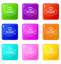 Designer icons set 9 color collection vector