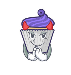 Devil blueberry cupcake mascot cartoon vector