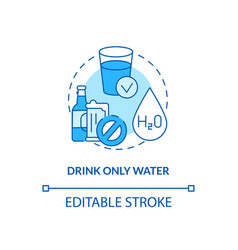 Drinking only water concept icon vector