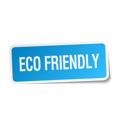 Eco friendly blue square sticker isolated on white vector