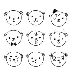 Emoticon doodles set hand drawn bear heads vector