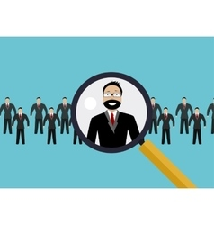 Finding professional staff with magnifying glass vector image