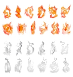 fire and smoke set vector image